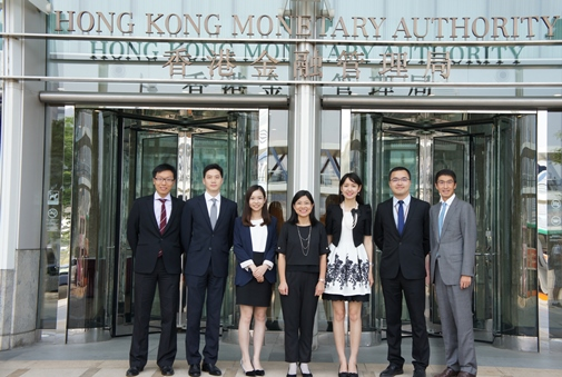 Ms Carmen Chu, Executive Director (Banking Conduct) (middle) and Mr Vincent Lee, Executive Director (External) (first from the right), together with Mr Phillip Wong, Mr Joshua To, Ms Angela Wu, Ms Tiffany Tang and Mr Bill Liang (from left to right) who are managers from various departments, share their experiences about the MT programme.