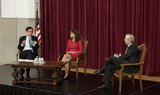 Mr Norman Chan, Chief Executive of the HKMA (first from left) discussed the reform of bank culture with Mr William Dudley, President and Chief Executive Officer, Federal Reserve Bank of New York (first from right), and Dame Nemat (Minouche) Shafik, Deputy Governor, Bank of England (middle) at a conference in New York in October.