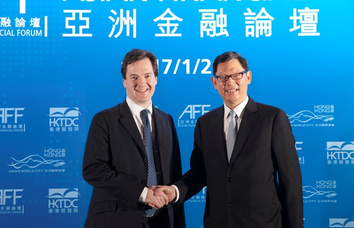 Photo 3:Mr Norman Chan, the Chief Executive of the Hong Kong Monetary Authority, meets Mr George Osborne. They agreed to foster co-operation between Hong Kong and London on offshore renminbi business.