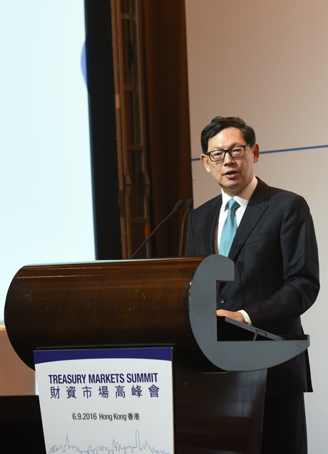 Mr Norman T.L. Chan, Chief Executive of the HKMA, gives the welcoming remarks and keynote speech at the Treasury Markets Summit 2016 held in Hong Kong.