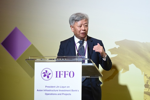 Mr Jin Liqun, President of the Asian Infrastructure Investment Bank (AIIB), talks about AIIB's operations and projects at a seminar organised by the HKMA Infrastructure Financing Facilitation Office in Hong Kong today.
