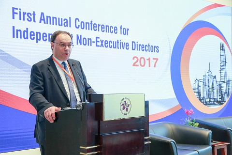 Mr Andrew Bailey, Chief Executive of Financial Conduct Authority, addresses the delegates at the inaugural INED Conference.