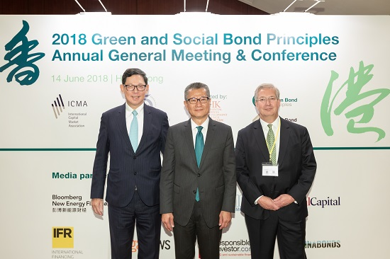 (From left to right) The Chief Executive of the Hong Kong Monetary Authority Mr Norman Chan, the Financial Secretary Mr Paul Chan and the Chief Executive of the International Capital Market Association Mr Martin Scheck are pictured at the Conference.