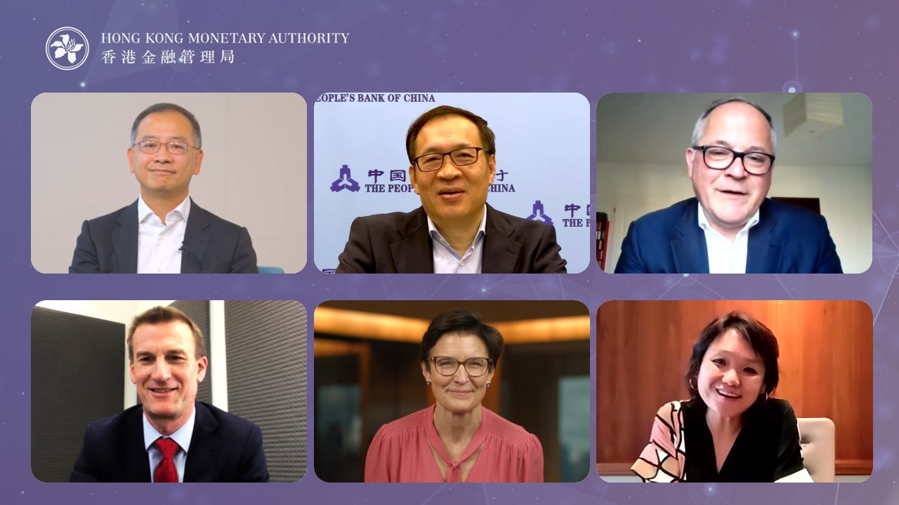 """Mr Eddie Yue, Chief Executive of the HKMA (top left) moderates the session """"A Global Lens – Regtech 2025: Vision of the Future"""". Other speakers include, Mr Yifei Fan, Deputy Governor, People's Bank of China (top centre); Mr Benoît Cœuré; Head, BIS Innovation Hub (top right); Mr David Bailey, Executive Director, International Banks Supervision, Bank of England (bottom left); Ms Jane Fraser, CEO, Citi (bottom centre) and Ms Jessica Tan, Co-CEO, Ping An Group (bottom right)."""